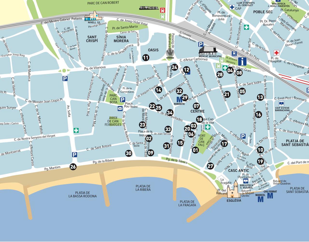 Sitges Tapas Route Map
